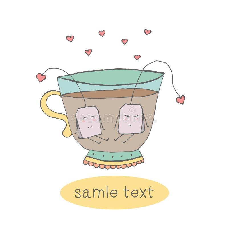 karciany śliczny Doodle wektor Filiżanka herbata Miłość w filiżance fotografia stock