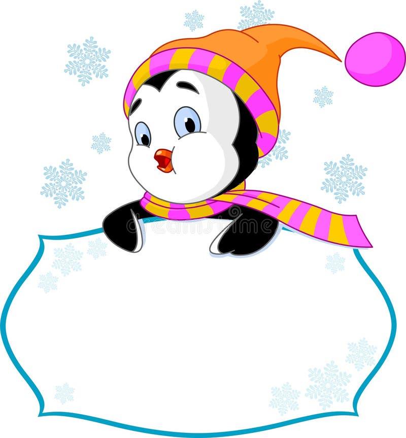karciany śliczny zaprasza pingwinu miejsce royalty ilustracja