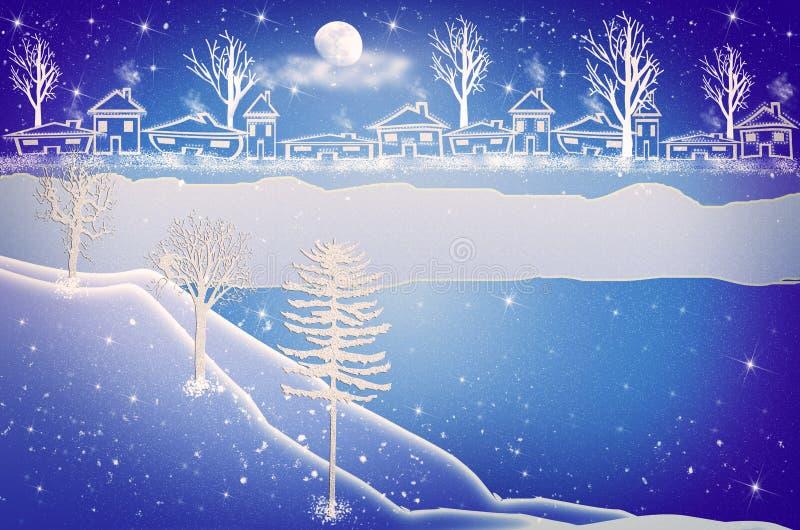 karciany bożego narodzenia powitanie Zimy wsi Śnieżny Miastowy krajobraz ilustracja wektor