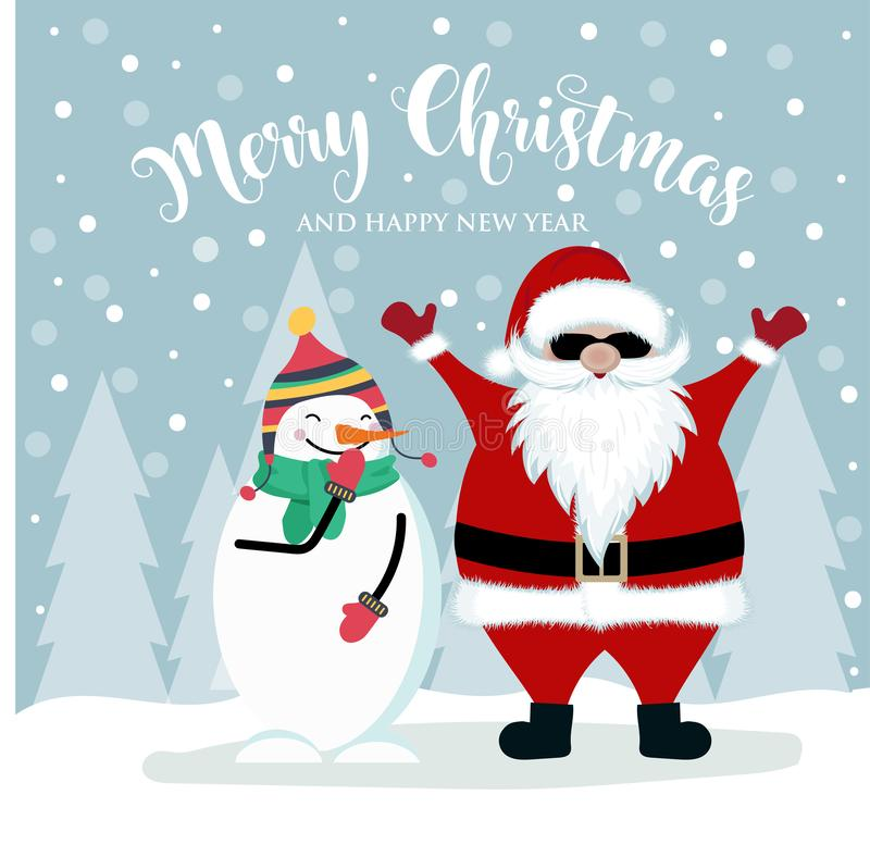 karciany bożych narodzeń Santa bałwan royalty ilustracja
