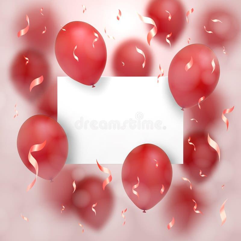 karciany dzień powitania s valentine Czerwoni balony latają wokoło prześcieradła papier na którym jest żadny twój tekst Na różowy ilustracja wektor