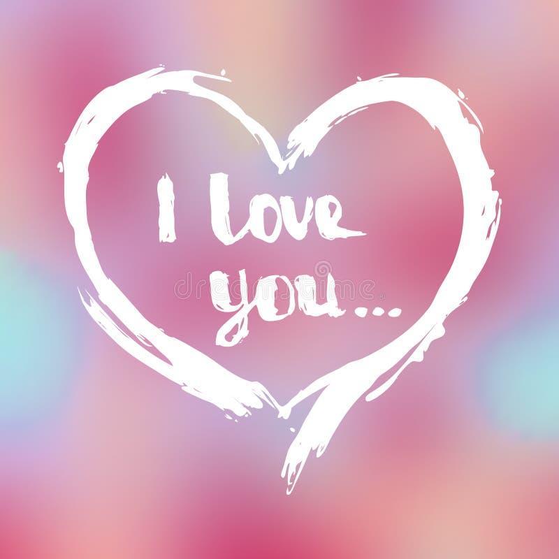 karciany dzień powitania s valentine Ręka rysujący kontur serce z wpisowym `, kocham ciebie ` ilustracji