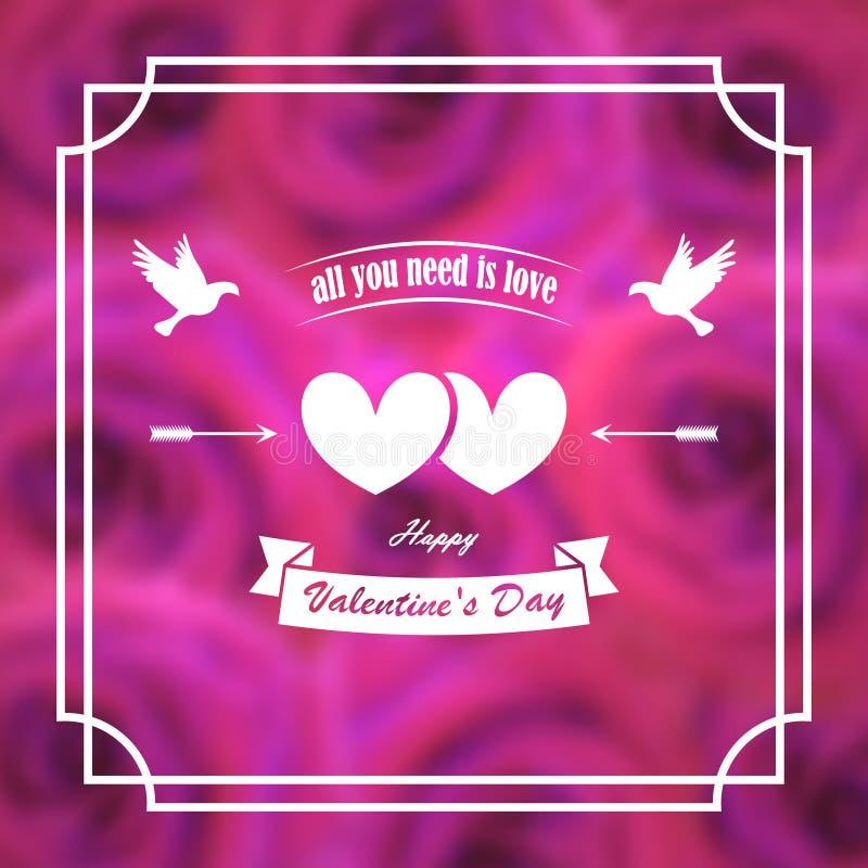 karciany dzień powitania s valentine sztandar, plakat Gołębie, serca, strzała Na tle rozmyte różowe róże W ramie ilustracji