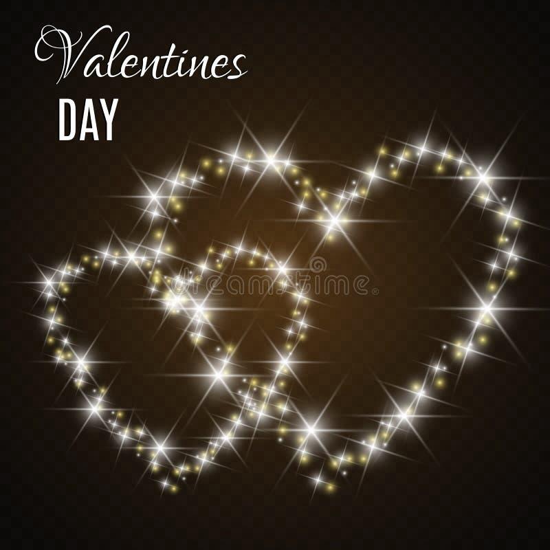 karciany dzie? serc s valentine ?wiat?a i plamy ilustracji