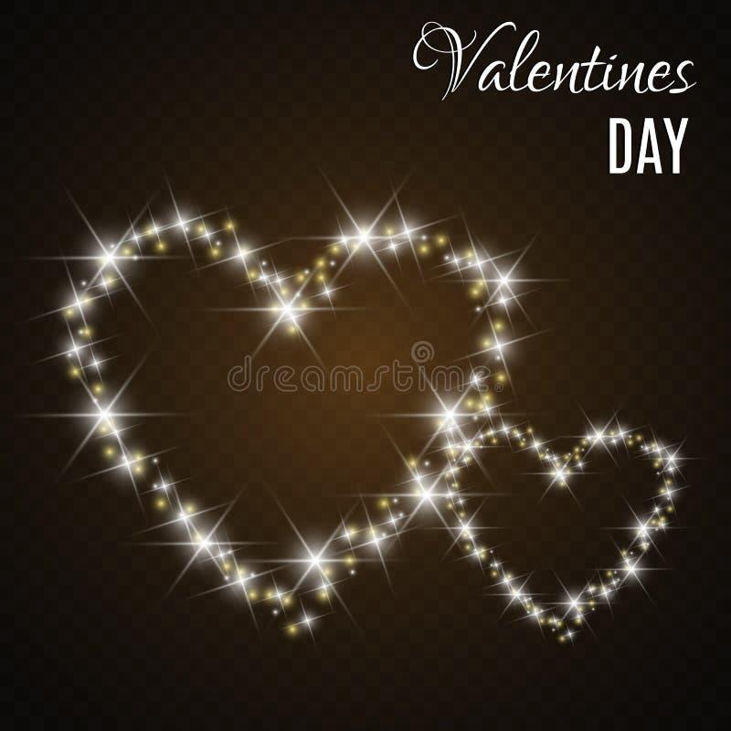 karciany dzie? serc s valentine ?wiat?a i plamy royalty ilustracja