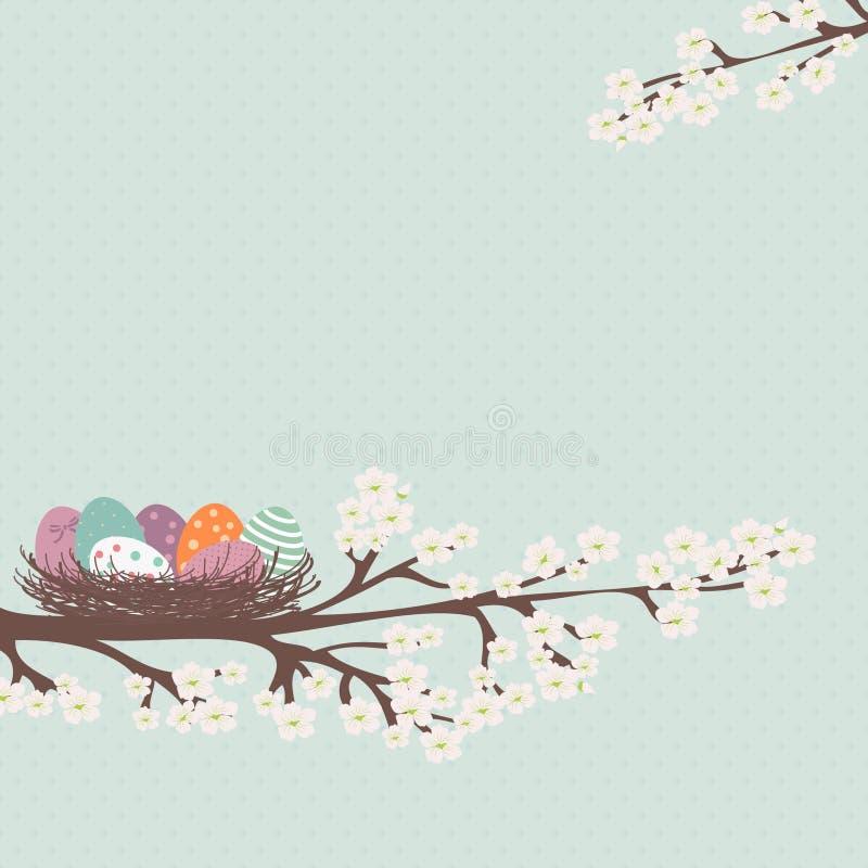 karciany Easter jajek gniazdeczko royalty ilustracja