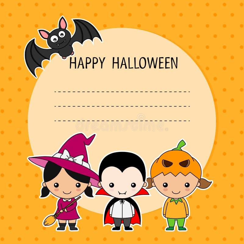 karciany Halloween Dzieci w przebraniu ilustracja wektor