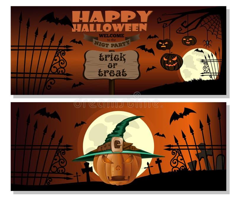 karciany Halloween Jack o lampion w czarownica kapeluszu ilustracji