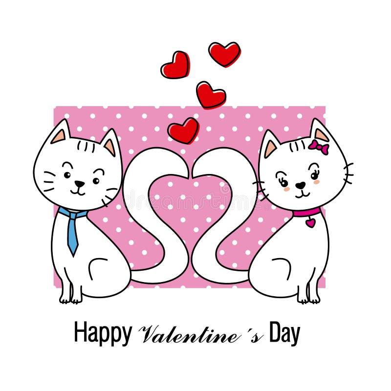 karciany kotów miłości valentine royalty ilustracja