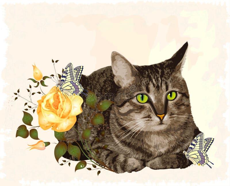 karciany kota powitania rocznik ilustracja wektor