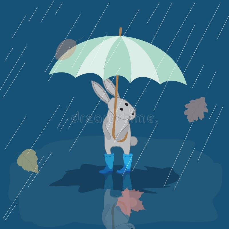 Karciany królik w gumowych butach w deszczu z parasolem, jesień ilustracja wektor