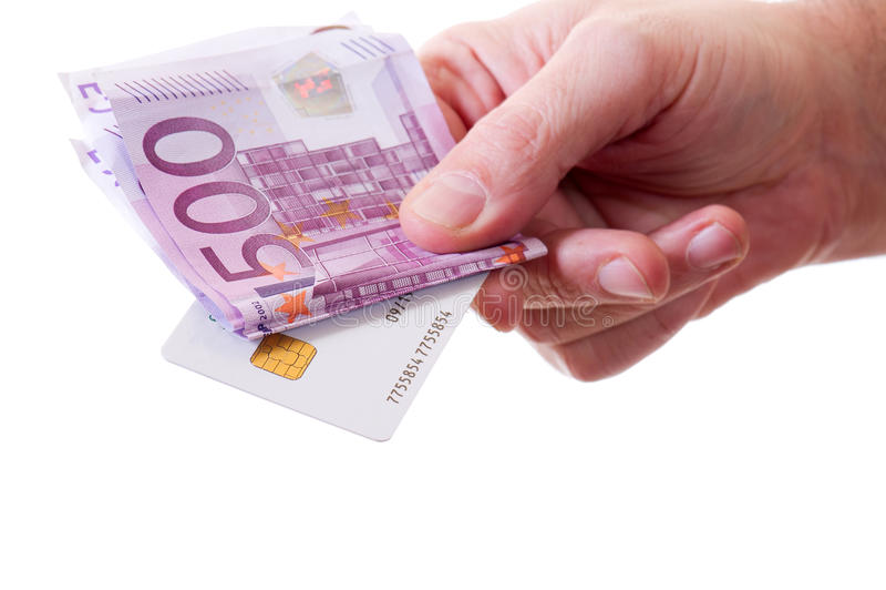 karciany kredytowy ręki mienia pieniądze zdjęcie royalty free