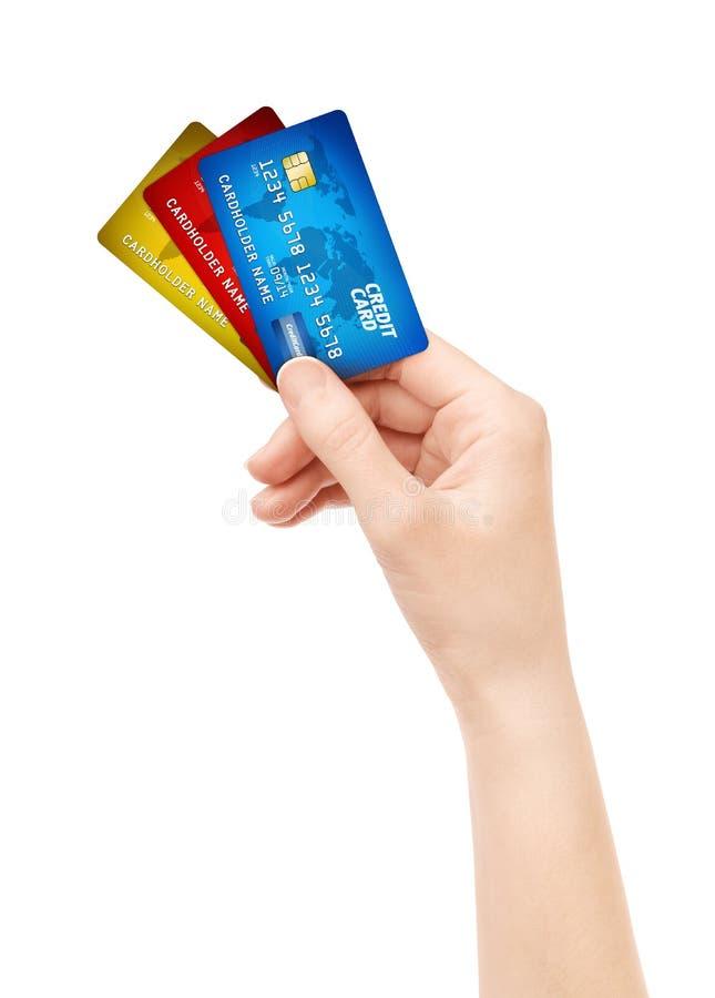 karciany kredytowy ręki mienie odizolowywająca paczka obrazy royalty free