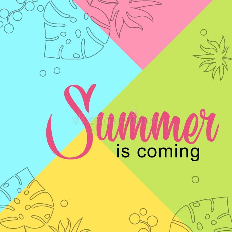 Karciany lato przychodzi na kolorowym tle royalty ilustracja