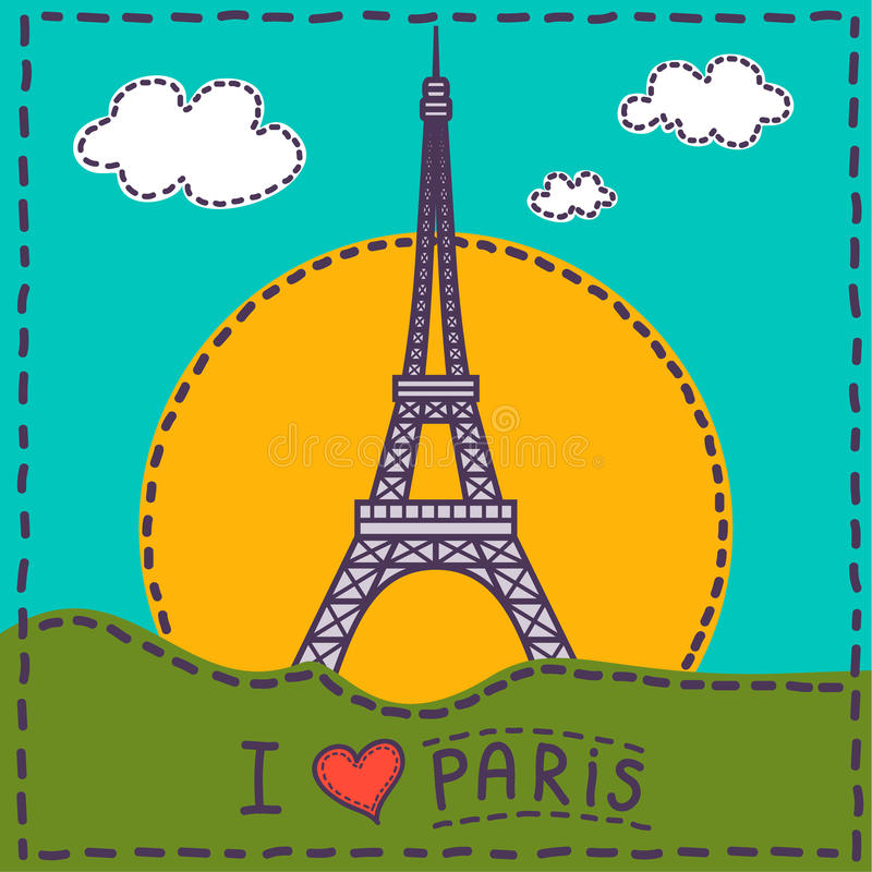 Karciany Paris ilustracji