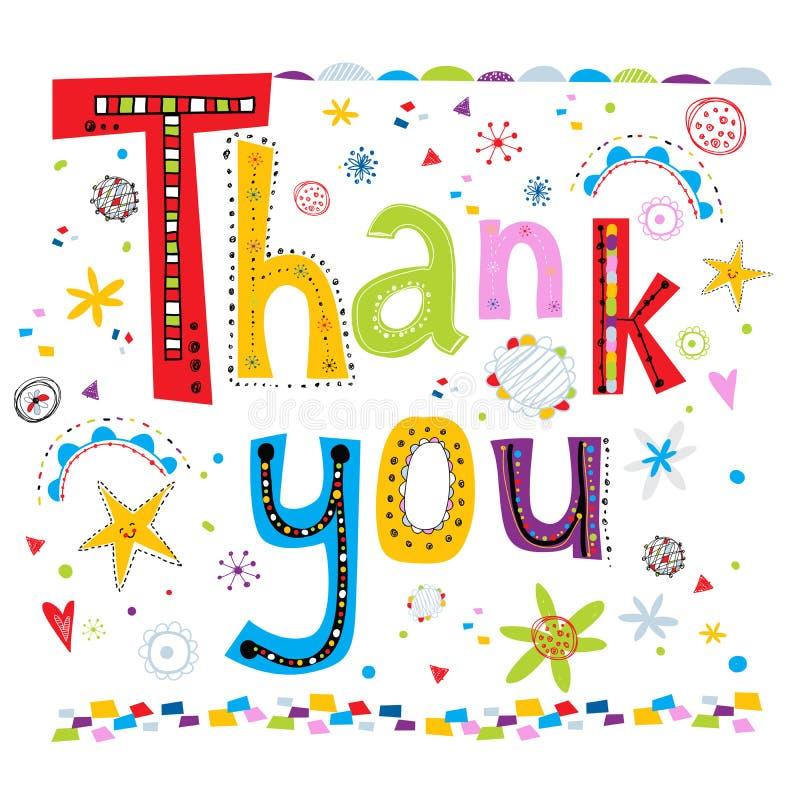 karciany powitanie dziękować ty Dziękuje Ciebie wręczać literowanie i doodles elementu tło Wektorowa ilustracja słowa T royalty ilustracja