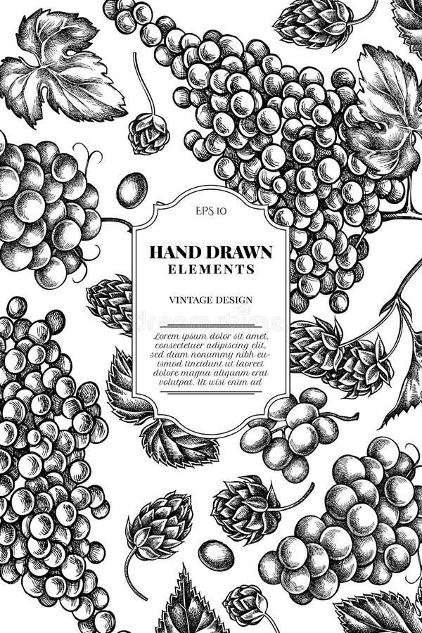 Karciany projekt z czarny i biały winogronami, chmiel royalty ilustracja
