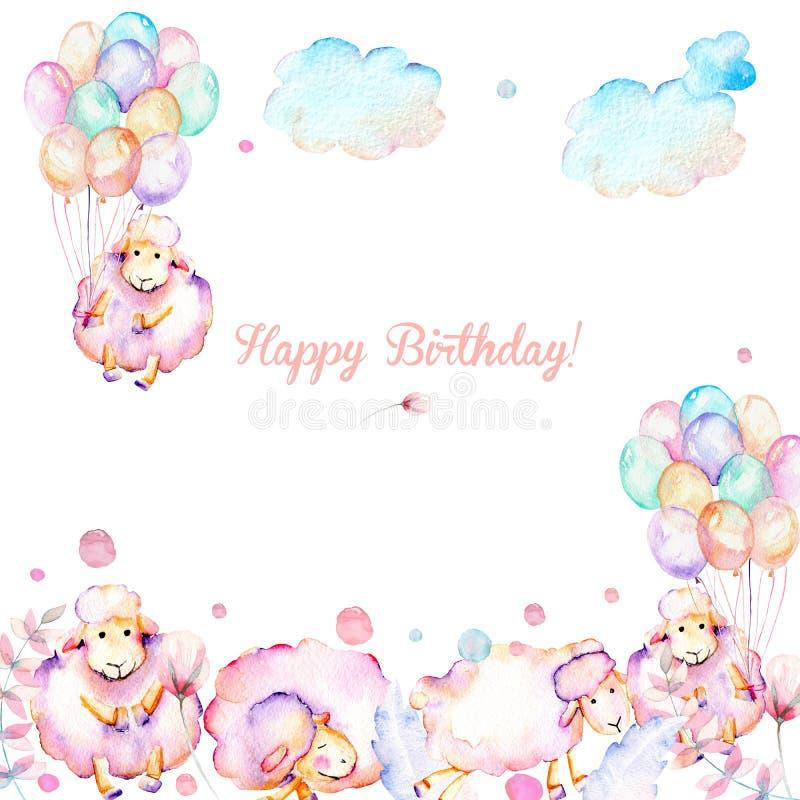Karciany szablon z akwareli ślicznych różowych sheeps, lotniczych balonów, rośliien i chmur ilustracjami, ilustracja wektor
