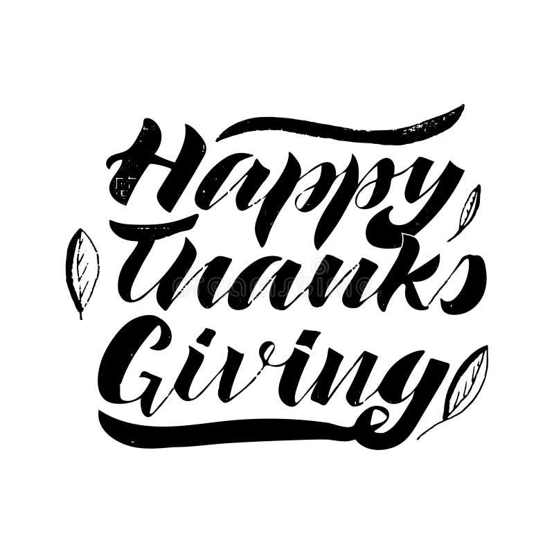 karciany szczęśliwy dziękczynienie Handwrinng, odizolowywa na białym tle ilustracji