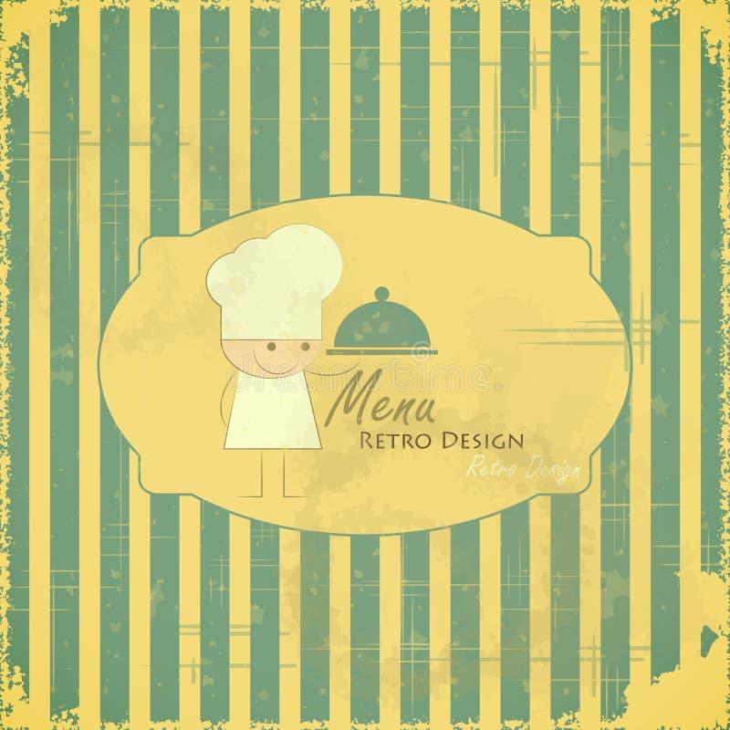 karciany szef kuchni menu rocznik ilustracji