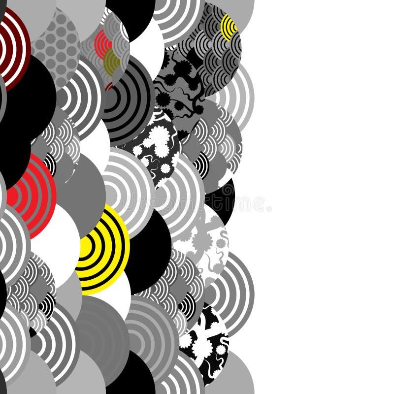Karciany sztandaru projekt rybi waży prostego natury tło z japończyka Sakura kwiatem, wiśnia, fala okręgu czerń szarego bielu rew ilustracji