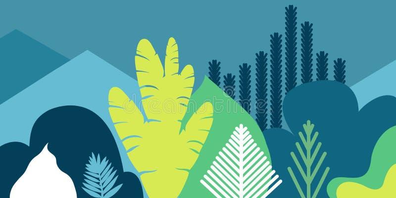 Karciany sztandaru zaproszenie z tropikalny kształtować teren zasadza drzewo góry i wzgórza Konserwacja środowisko, ekologia royalty ilustracja