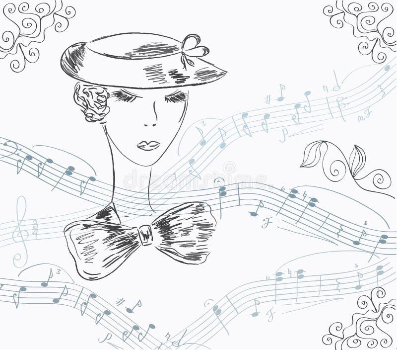 karciany zaproszenia damy musical ilustracja wektor