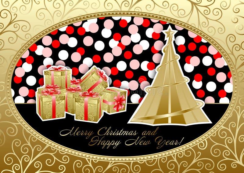karcianych bożych narodzeń szczęśliwy wakacyjny wesoło nowy rok ilustracja wektor