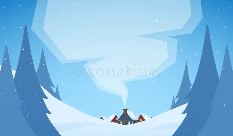 karcianych dzień powitania irysów macierzysty s wektor Śnieżny Bożenarodzeniowy tło z kreskówka domami royalty ilustracja