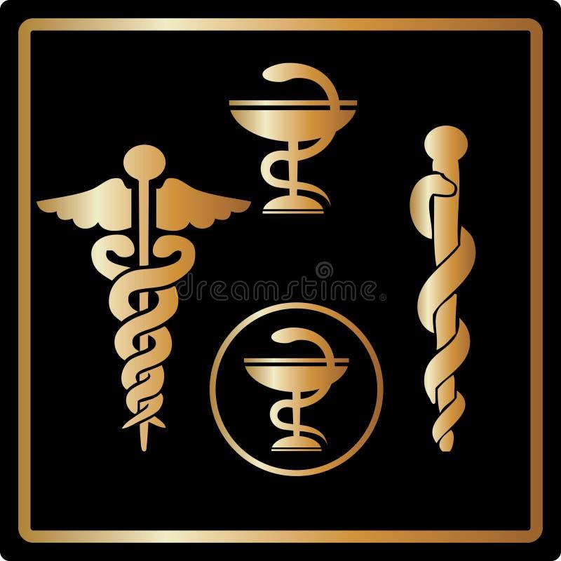 karcianych emblemata złocistych ikon medyczny symbolu wektor ilustracji