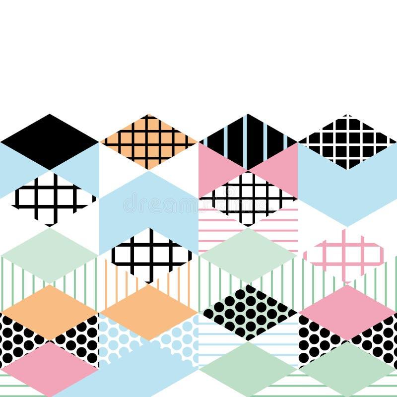 Karcianych sztandaru szablonu Geometrycznych elementów Memphis mody Postmodern Retro styl 80-90s asymmetrical kształta Rhombus tr ilustracji