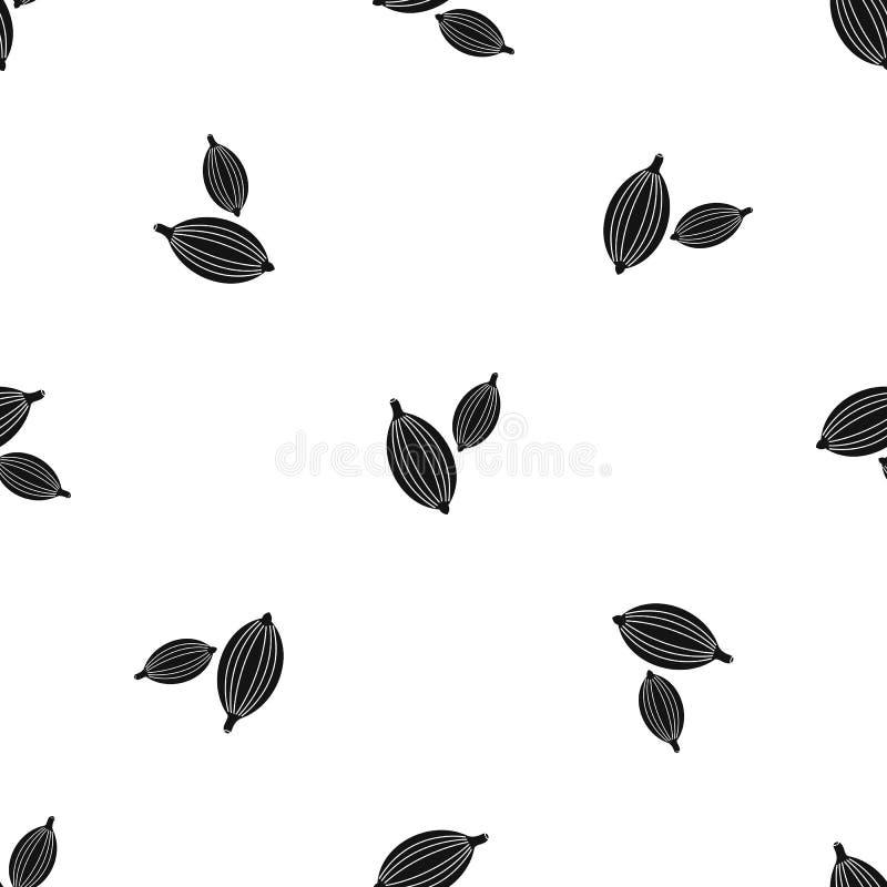 Kardamonów strąków wzoru bezszwowy czerń ilustracja wektor