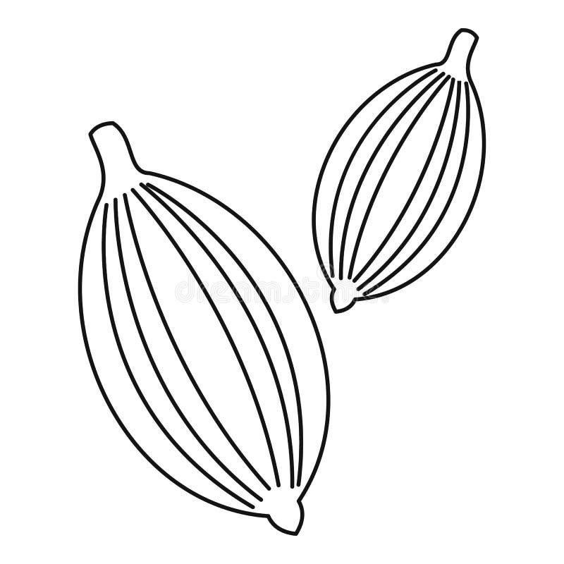 Kardamon ikona, konturu styl royalty ilustracja