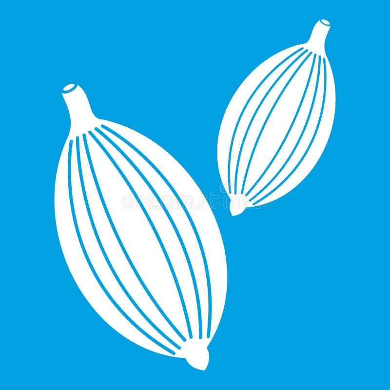 Kardamon połuszczy ikona biel ilustracja wektor