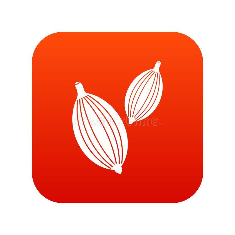 Kardamon połuszczy ikony cyfrową czerwień royalty ilustracja