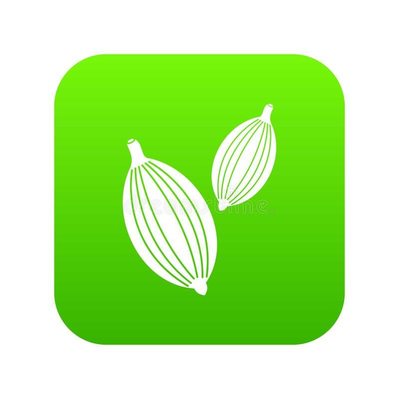 Kardamon połuszczy ikony cyfrową zieleń royalty ilustracja