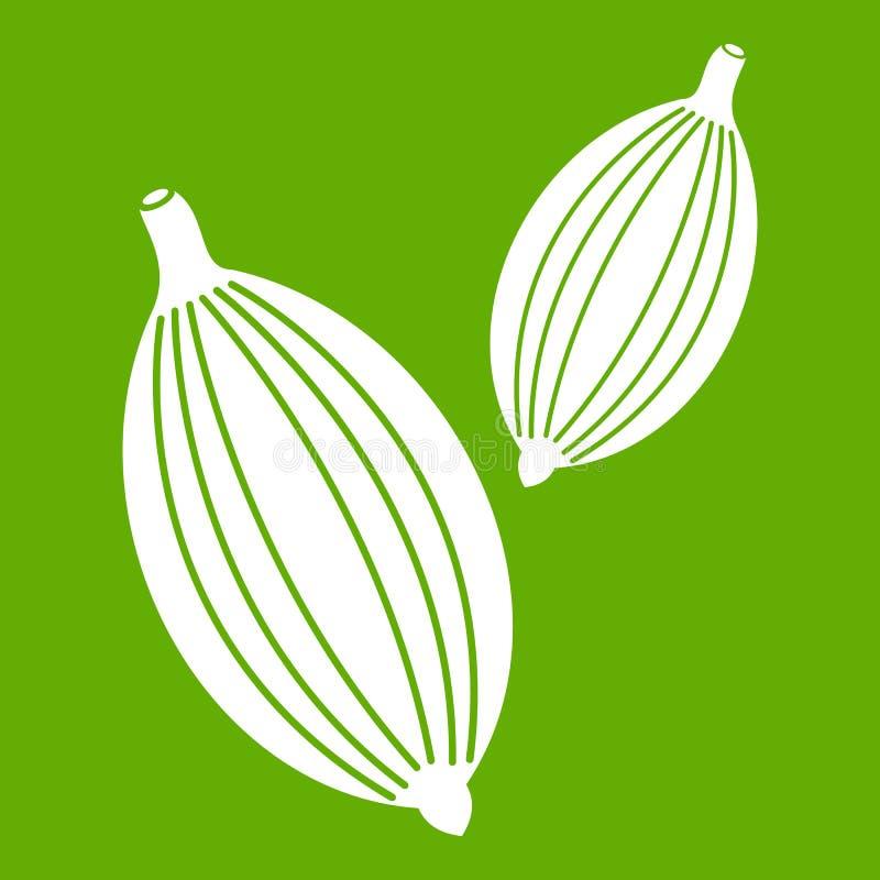 Kardamon połuszczy ikony zieleń royalty ilustracja