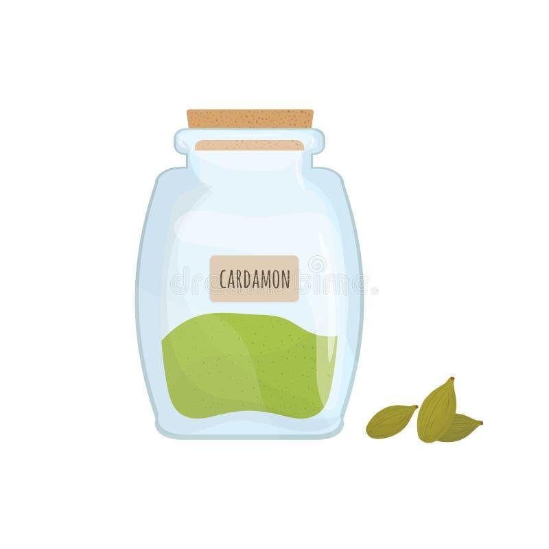 Kardamonowi ziarna przechujący w szklanym słoju odizolowywającym na białym tle Aromatyczny ziele, karmowa pikantność lub condimen royalty ilustracja