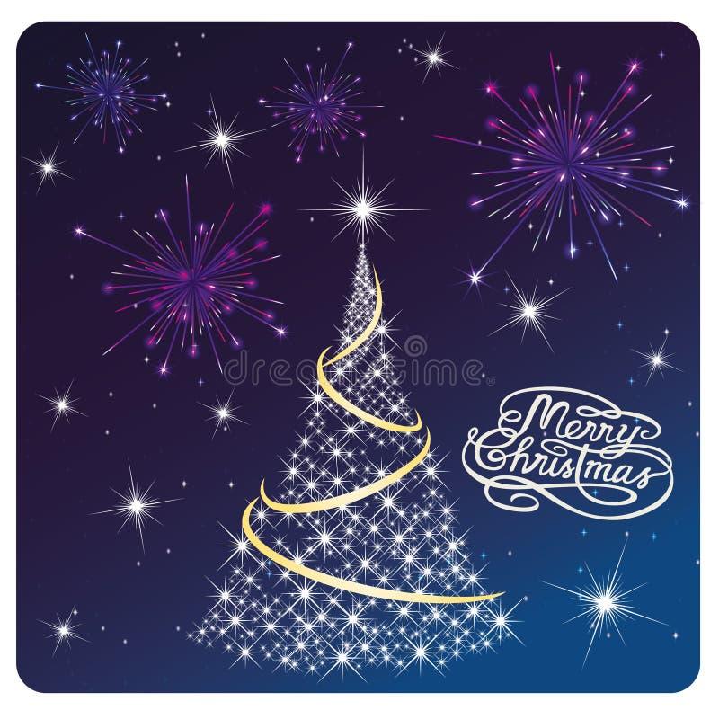 Kardieren Sie frohe Weihnachten, weißen Baum und Feuerwerke vektor abbildung