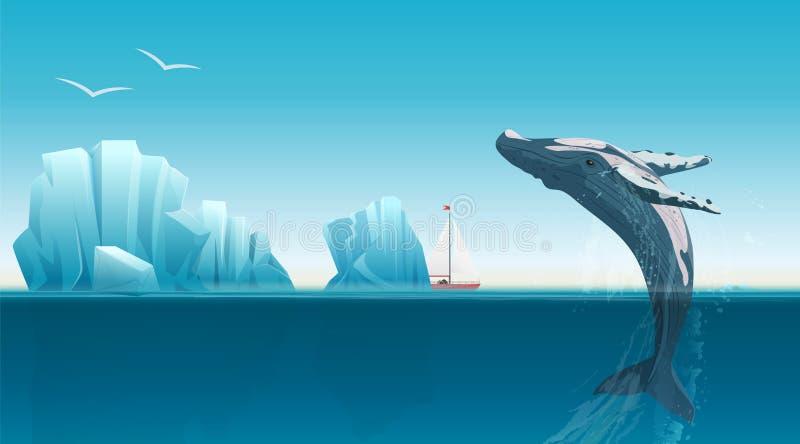 Kardieren Sie Schablone mit dem Wal, der unter die blaue Ozeanoberfläche nahe Eisbergen springt Arktische Vektorillustration des  stock abbildung