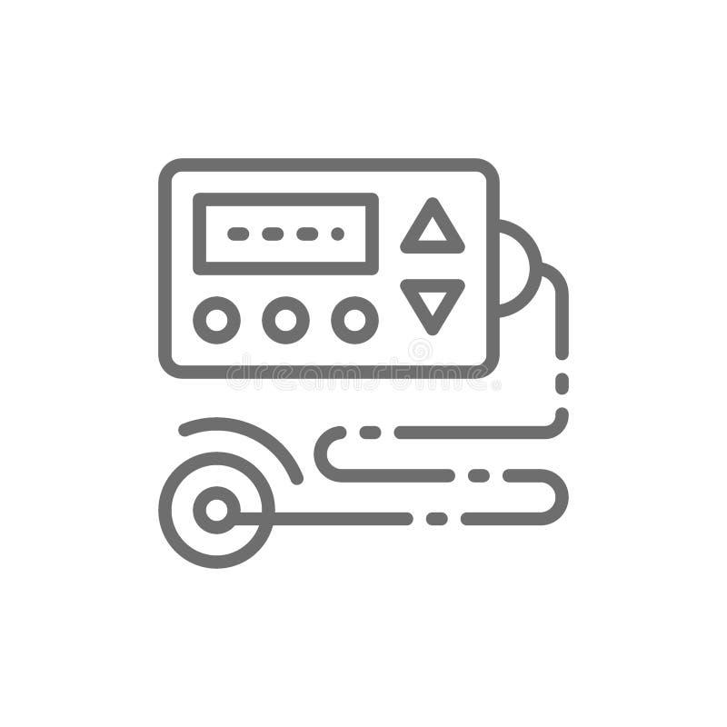Kardiograf ecohjärtabildskärm, ecg, elektrokardiogram, blodtryckbildskärmlinje symbol royaltyfri illustrationer