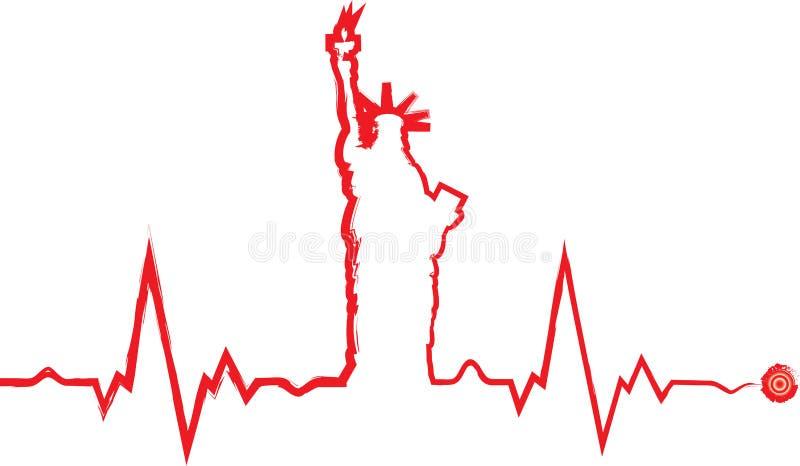 Kardiogram för vektorfrihetsstaty stock illustrationer
