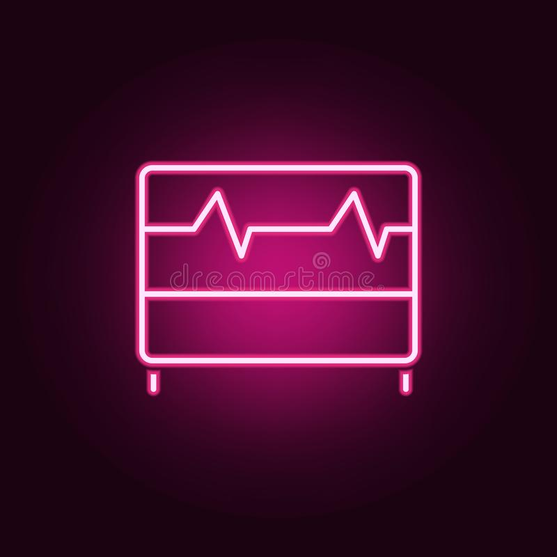 Kardiogram ikona Elementy Scientifics studiują w neonowych stylowych ikonach Prosta ikona dla stron internetowych, sieć projekt,  ilustracji