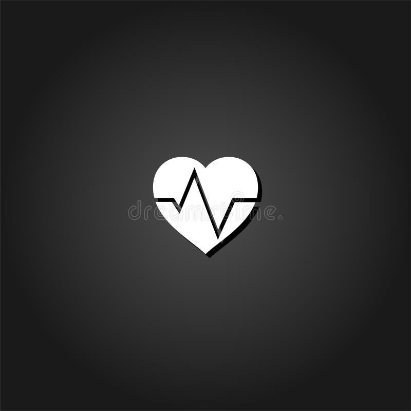 Kardiogram ikony mieszkanie ilustracji