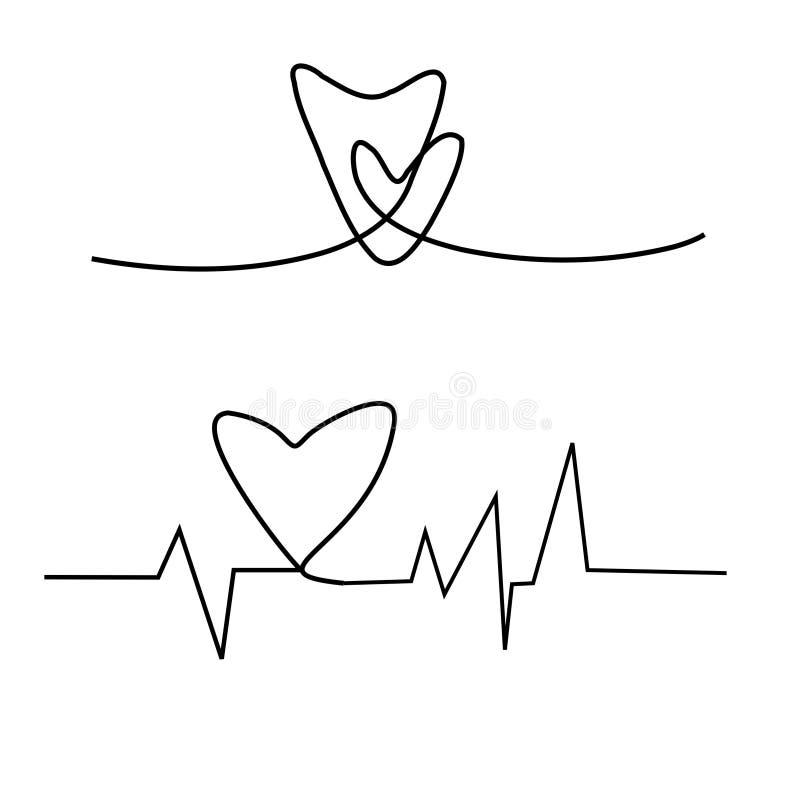 Kardiogram på vit bakgrund, kardiogram av förälskelse stock illustrationer
