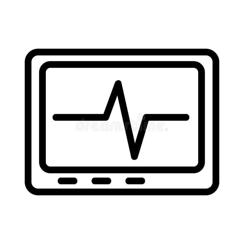 Kardiogram wektora ikony serca Ilustracja symbolu obrysu izolowanego ilustracja wektor