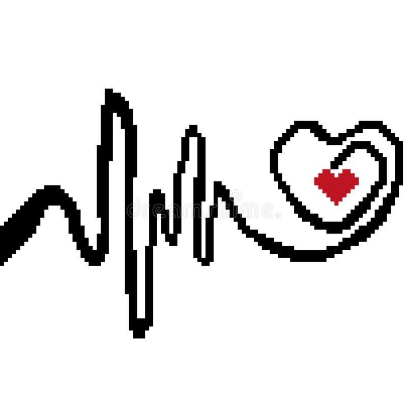 Kardiogramkonturn är en hjärtarytm som dras av fyrkanter, PIXEL Teckensymbol av medicin också vektor för coreldrawillustration vektor illustrationer