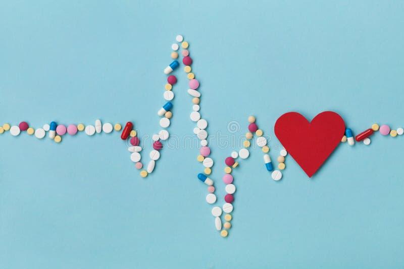 Kardiogramm wird von den bunten Drogenpillen und vom roten Papierpharmazeutischen und der Kardiologie Konzept des herzens, gemach lizenzfreie stockbilder