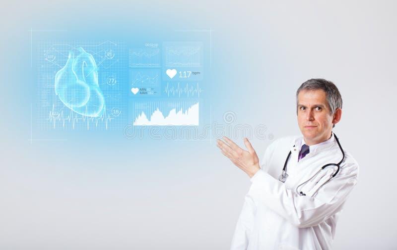 Kardiolog som framl?gger forskningsresultaten stock illustrationer