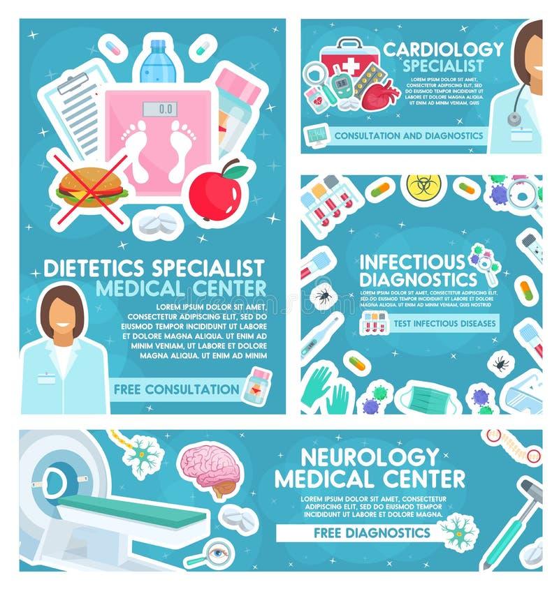 Kardiologi-, dietlära- och neurologimedicin royaltyfri illustrationer